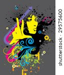 color abstract girl for print | Shutterstock .eps vector #29575600