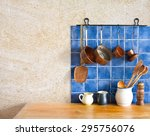 kitchen interior. hanging retro ... | Shutterstock . vector #295756076
