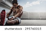 sport. runner. muscular young... | Shutterstock . vector #295760315