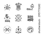 collection of  bbq badges and... | Shutterstock .eps vector #295773182