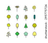 set of color line icons. trees  ... | Shutterstock .eps vector #295775726