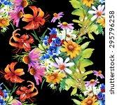 garden floral watercolor... | Shutterstock .eps vector #295796258