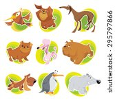 vector animals in sticker style.... | Shutterstock .eps vector #295797866