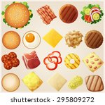 burgers set. top view.... | Shutterstock .eps vector #295809272