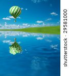 green white hot air balloon in... | Shutterstock . vector #29581000