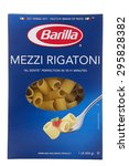 Small photo of ALAMEDA, CA - JULY 10, 2015: One 1 pound box of Barilla brand pasta. Mezzi Rigatoni. Al Dente perfection in 10 to 11 minutes. An Enriched Macaroni Product.