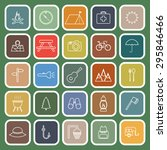 camping line flat icons on... | Shutterstock .eps vector #295846466