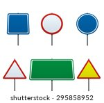 empty road sign set collection... | Shutterstock . vector #295858952