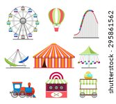 amusement park icons set in... | Shutterstock . vector #295861562