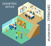 office work. isometric flat 3d... | Shutterstock . vector #295861682