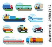 transportation flat icons.... | Shutterstock . vector #295865642