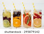 detox fruit infused flavored... | Shutterstock . vector #295879142