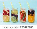 detox fruit infused flavored... | Shutterstock . vector #295879205