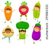children dressed like vegetables | Shutterstock . vector #295881332