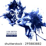 lions illustration. watercolor... | Shutterstock .eps vector #295883882