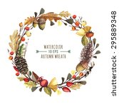 vector wreath of autumn leaves... | Shutterstock .eps vector #295889348