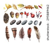 vector set of autumn nature... | Shutterstock .eps vector #295889462