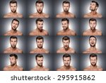 Small photo of Emotional series. Collage of young shitless man expressing different emotions while standing against grey background