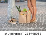 young couple waiting for bus... | Shutterstock . vector #295948058