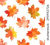 autumn maple  leaves on a white ... | Shutterstock .eps vector #295952726