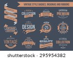 Stock vector vintage vector insignias badges and ribbons eps text outlined 295954382