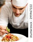 close up male chef decorating...   Shutterstock . vector #295967222