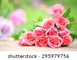 Stock photo pink roses in a garden 295979756