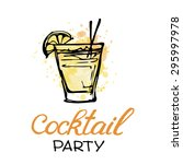hand drawn poster with cocktail.... | Shutterstock .eps vector #295997978
