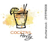 hand drawn poster. cocktail... | Shutterstock .eps vector #295998008