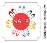 watercolor banner with sale... | Shutterstock .eps vector #296002295