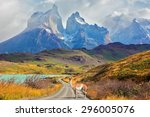 majestic peaks of los kuernos... | Shutterstock . vector #296005076