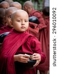little monk with a bowl  bagan  ... | Shutterstock . vector #296010092