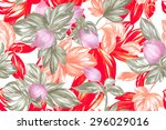 red foliage on a white... | Shutterstock . vector #296029016