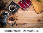coffee on desk background... | Shutterstock . vector #296036216