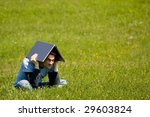 man with laptop outside working | Shutterstock . vector #29603824