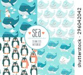 set of cute sea seamless... | Shutterstock .eps vector #296042042
