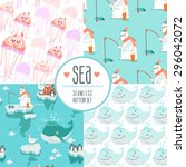 set of cute sea seamless... | Shutterstock .eps vector #296042072