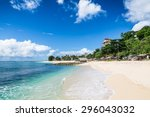 tropical beach in bali | Shutterstock . vector #296043032