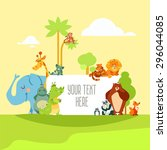 set of cute cartoon wild... | Shutterstock .eps vector #296044085