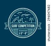 round surfing wave emblem... | Shutterstock .eps vector #296047682