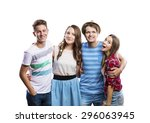 beautiful teenagers posing.... | Shutterstock . vector #296063945