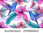 tropical flowers with... | Shutterstock .eps vector #296084642