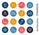 camping icon set | Shutterstock .eps vector #296088848