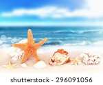 seashells on seashore in... | Shutterstock . vector #296091056