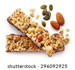 Stock photo granola bar with chocolate isolated on white background 296092925