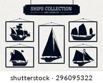 hand drawn ship silhouettes set ...   Shutterstock .eps vector #296095322