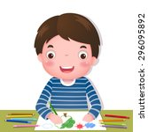 illustration of cute boy... | Shutterstock .eps vector #296095892