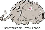 a fat lazy cat laying on the... | Shutterstock .eps vector #296112665