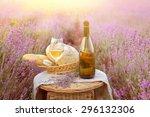 Bottle Of Wine Against Lavende...