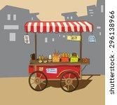 sketch of street food carts ... | Shutterstock .eps vector #296138966